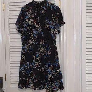 NWOT Silk Short Sleeve Floral Dress Sz. L